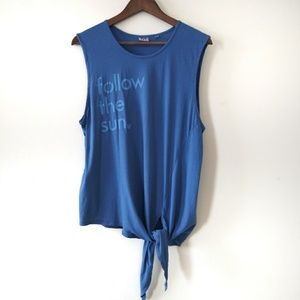 Junk Food | Disney Blue Muscle Tie Detail Tank